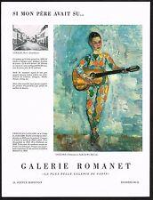 1957 Vintage Galerie Romanet Christian Caillard Harlequin & Guitar Art Print Ad