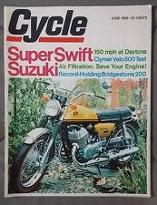 1969 JUNE CYCLE MAGAZINE SUZUKI SWIFT CLYMER VELO 500 HONDA KAWASAKI MOTORCYCLE