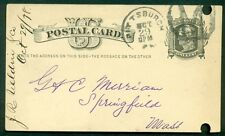 """1878, 1¢ card tied Pittsburgh, Pa w/large """"M"""" in circle cancel, file punch holes"""