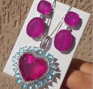 LUXURIOUS NATURAL MOZAMBIQUE PINK RUBY CARIBBEAN BLUE TOPAZ NECKLACE PENDANT 925