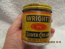 Vintage Jar Wright's Silver Cream Cleaner With Paper Label 8 Ounces Keene NH