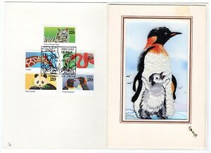 #2705-09 Animals 1992 FDC Embroidered Kitty Gallup Card King Penguin ONLY 2 MADE