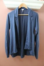 Splendid Women Blue Jacket L Open Front Notch Collar Knit Flowy Blazer Swacket