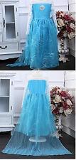 Frozen Vestido Elsa princesa azul infantil DISFRAZ REINA Edad 2-8 años