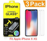 3Pack For iPhone X XS Premium Film Real Premium Tempered Glass Screen Protector