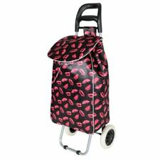 NEW BLACK WITH PINK LIPS DESIGN FUNKY FOLDING SHOPPING TROLLEY WITH 2 WHEELS
