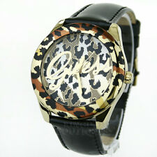 New GUESS Women's Watch Sexy Leopard Gold Black Leather Logo Montre NwT Reloj