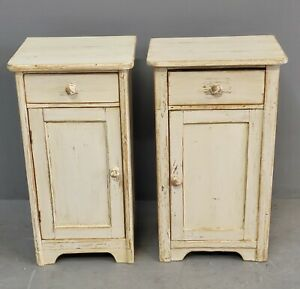 Near Pair of Antique 1900s European Rustic Pine Nightstands With Distressed W
