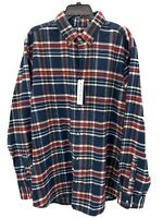 Mizzen + Main Mens XXL Trim Fit Red Blue Plaid Long Sleeve Button Down Shirt NWT