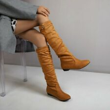 Womens Casual Mid Calf Boots Buckle Low Heel Round Toe Motor Biker Slip On Shoes