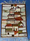 Latin American Rug, Depicts A Village, Handmade, Decor, ~31x23
