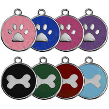 ROUND GLITTER/COLOUR PAW/BONE ENGRAVED DOG ID NAME TAG PERSONALIZED PET IDENTITY