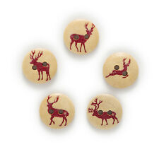 50pcs 2 Hole Elk Round Wood Buttons Clothing Decor Sewing Scrapbooking 15mm