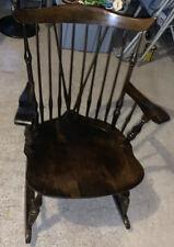 Vtg Antique colonial Nichols & Stone Windsor Arm rocking Chair