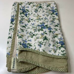 waverly vintage valance curtain white with blue vine floral print green checkere