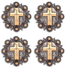 """Set of 4 Conchos 1-1/2"""" Western Saddle Tack Gold Cross Engraved Conchos Co418"""