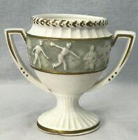 "Vintage 1962 Samson Import Co RELPO Bowling Vase Urn Planter Handles White 5"""