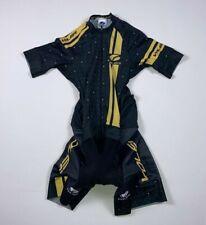 Women's Voler Skin Tri Suit Sz S Small Black Yellow Padded Cycling Triathlon 254
