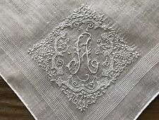 A+ Vintage White Linen Hankie Madeira Style Hand Embroidered Monogram A Bride