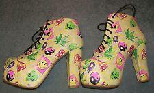 Ladies Iron Fist ~ Acid Yellow LSD Quirky ~ Wedges ~ Used  ~ Good ~ UK 6