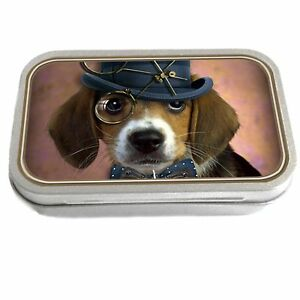 Steampunk Dog Slim Hinged 1oz Tin Tobacco Storage Pill Box Fishing Jewellery