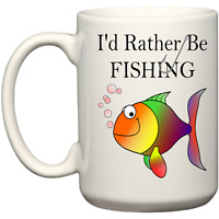 I'd Rather Be Fishing Funny Coffee Mug Fishing Accessories Christmas Birthday