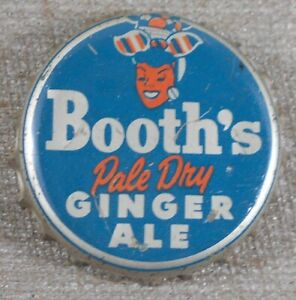 Vintage 1940's Booth's Pale Dry Ginger Ale Soda Cork Lined Bottle Cap