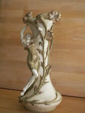 LARGE ART NOUVEAU ROYAL VIENNA ERNST WAHLISS VASE WITH FEMALE FIGURE AND FLOWERS