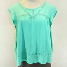 55b8e126dcb NEW Democracy Plus Size Mesh Laced Top Green Blouse Keyhole Summer 3X