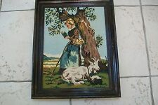 French Vintage girl with a goat tapestry upholstery cushions #6