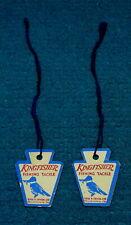 2 x Vintage/Unused : KINGFISHER FISHING TACKLE : Hanging Tag @ EDW K TRYON
