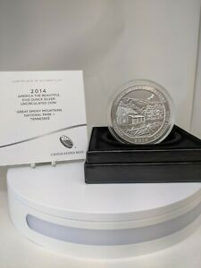 2014-P America The Beautiful GREAT SMOKEY MOUNTAINS 5OZT Silver UNC Coin W/ OGP