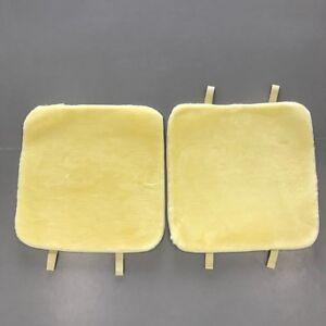 """2 piece Faux fur cushion , car seat pad , chair pad. 20""""x20"""" Beige"""