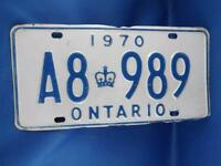 ONTARIO LICENSE PLATE 1970 A8 989 VINTAGE CANADA CROWN SHOP GARAGE MAN CAVE SIGN
