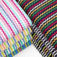 100% Cotton Fabric by FQ Remix Zig Zag Chevron Stripe Dress Quilting Crafts VA67