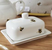 BUMBLE BEE Embossed BUTTER Storage DISH with LID COUNTRY KITCHEN Serving