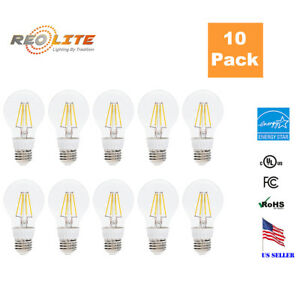 E26 Base A19 LED Edison Filament Bulb 4W 40W Equivalent 110-120V Warm 2700K