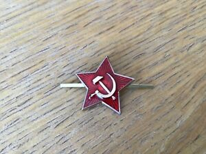 Genuine USSR CCCP Soviet Russian Communist Party Red Star Army Hat Pin