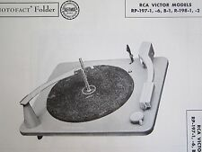 RCA RP-197-1, RP-197-6, RP-197B-1, R-198-1, R-198-2 CHANGER TURNTABLE PHOTOFACT