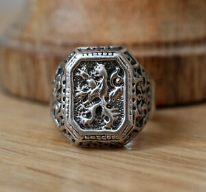 Rare Exclusive Antique Soviet Russian Men's Ring Silver 875 Star Stamp Size 11