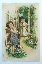 CUPID Watches Romantic COUPLE Woodland Path Embossed Gold Germany Postcard