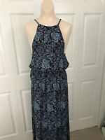 Lucky Brand Maxi Dress Women's Blue Floral Stretch Blouson Keyhole Rayon Size S