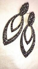 Stunning smoke rhinestone double teardrop statement glamour earrings sparkly!