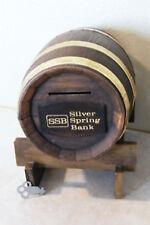 Vtg Banded Plastic Barrel Coin Money Bank Silver Spring Bank Milwaukee Wi + Key
