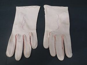 ** MADELEINE DEBS LADIES PALE PINK DOUBLE WOVEN COTTON GLOVES UNLINED SIZE 6.5