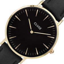 NEW $99 CLUSE La Bohème Gold/Black Women's Stainless Steel Leather Watch CL18401