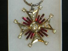 Crown Trifari Maltese Cross Pendant Necklace Alfred Philippe PatPend Trifarium!