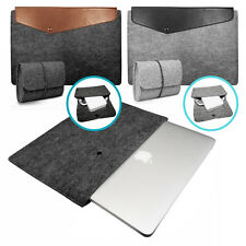 Laptop Felt Sleeve Case with PU Leather Cover and Charger Bag for Apple Macbook