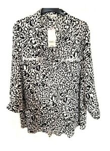 Black & White Zip Pockets Top Blouse size 18 Peacocks New with tags