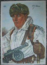 German WW2 Postcard FINLAND Soldier Willrich Artwork Russian Machine gun